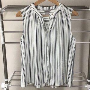H&M black and white striped v neck sleeveless top